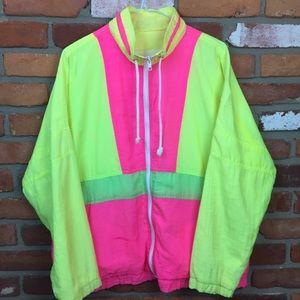 Vintage 80s neon windbreaker medium
